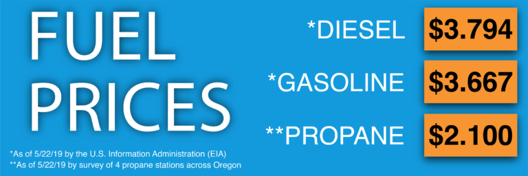 Oregon Fuel Prices as of 5/22/19